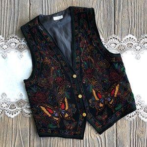 Vintage Unico Milano Collection Velvet Print Vest